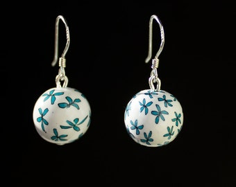 White Blue Floral Ball Earrings Summer Dangle Earrings Sterling Silver Ear Wire