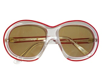 Pierre Marly Attributed Rare Iconic 1970s Vintage Sunglasses Oversized Sunnies Transparent Frame