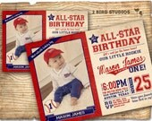 Baseball invitation / Baseball Birthday Party Invitation / Vintage baseball card invitation / Baseball invites for baseball party YOU print
