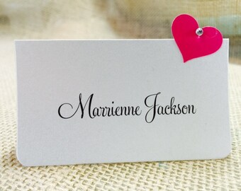 10 Wedding Place Cards, Bridal Shower, Birthday, Party Place Cards, Pink Heart with Gem, Customize Any Color, Name Printing