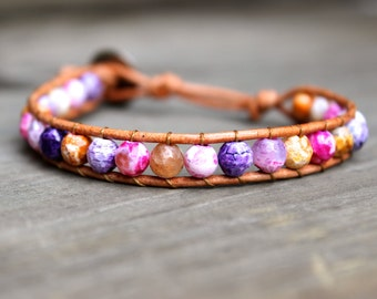 Beaded Leather Single Wrap Stackable Bracelet with Colorful Pink Orange and Purple Agate Beads on Genuine Tan Leather