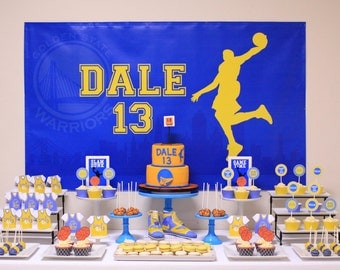 Golden State Warriors Basketball Themed Backdrop- .JPEG File via Email Delivery - You Print Your Own