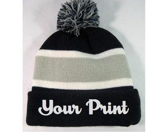 Personalized Throwback Beanie Skull Cap Pom Custom Stripe Navy and Grey