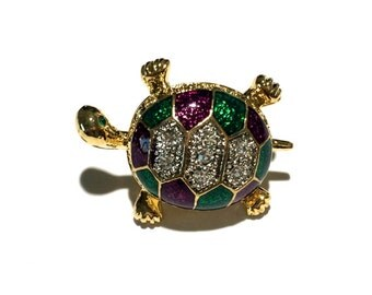 Turtle  Enamel Brooch, Rhinestone Brooch, Pin, Animal Brooch, Tie Tack