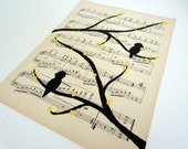 bird on tree branch vintage sheet music art painting 9x12 black trees and birds with yellow leaves