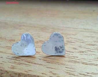 Heart  Earrings, Silver Earrings, Love earrings, Silver jewelry, Heart jewellery, Heart, Heart stud, Heart stud earrings, Silver heart