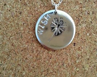 Dandelion necklace Wish Pendant Wish Jewellery Silver necklace Hand stamped Pendant Dandelion pendant