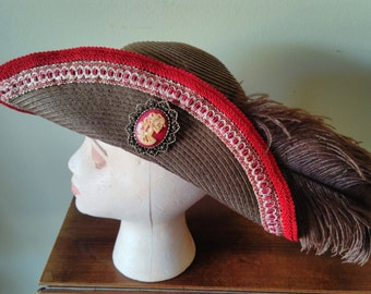 Pirate hat cavalier stye brown with brick red trim