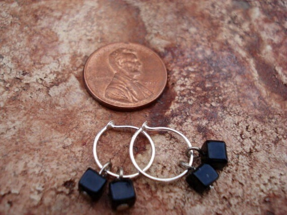 Small Silver Hoop Earrings, Black Glass Charm Earrings, Women's Tiny Hoop Earrings, Beaded Small Hoop Earrings, Tiny Earrings, One Of A Kind