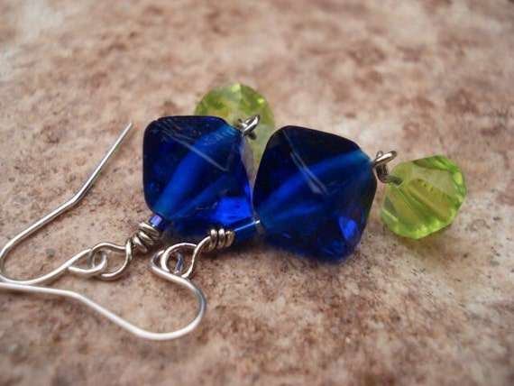 Greenery and Cobalt Blue Earrings, Glass Iridescent Peridot Charm Earrings, Dangle Earrings, Drop Earrings, Fun Earrings, Gift For Her