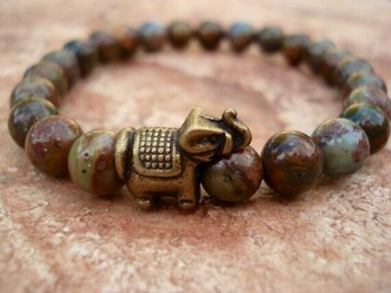 Green Opal Bracelet, Elephant Bracelet, Elephant Jewelry, Beaded Bracelet, Opal Bracelet, Mens Bracelet, Woman's Bracelet, Gemstone Bracelet