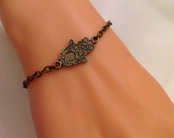 Hamsa Hand Bracelet, Brass Khamsa, Fatma's Hand  Charm Bracelet, Antique Brass Jewelry, Best Gift, Boho Jewelry, Birthday Gift, Godd Luck