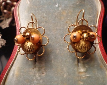 REDUCED  Victorian Gold and Coral pierced earrings