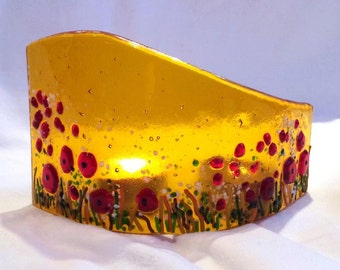Poppies in the Corn Fused Glass Tealight Standing Arc