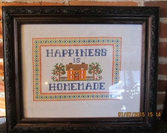 Happiness Is Homemade Cross Stitch Sampler