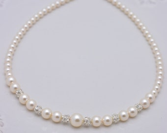 Ivory Pearl and Rhinestone Bridal Necklace, Ivory Pearl Necklace, Pearl Strand, Cream Pearl Wedding Necklace, Full Pearl Necklace 0289
