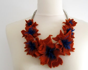 Felt Necklace Flower Felt Unique Linen String Necklace with Cobalt and Pumpkin Felted Flower Merinowool Boho