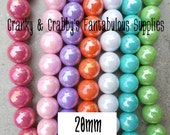 Strand of 18 20mm Acrylic Bubble Beads  -  Chunky Necklaces - 7 color choices