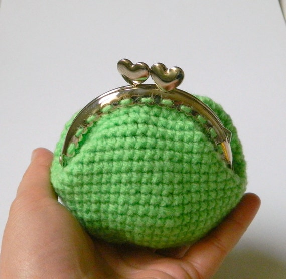 crochet coin purse, hearts coin purse, kiss clasp crochet coin purse ...