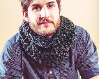 Charcoal Handmade Cowl Scarf - Cozy Neck Warmer - Warm and Stylin - Bulky Knit - Chunky Mens scarf - chunky womens scarf