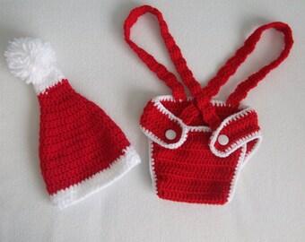 Santa Diaper Cover and Aviator Hat Set,Crochet Baby Beanie-Photo Prop Custom Made,Crochet Santa Baby Elf Hat,Photography Prop-Christmas Gift