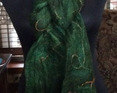 Emerald Green Felted Scarf with Ribbons