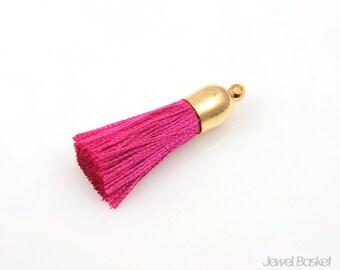 2pcs - Fuchsia Thread Tassel with Gold Cap - Small / red / fuchsia / 16k gold plated / gold cap / cotton / yarn / 8mm x 32mm / EFCG004-T