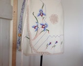 Women's Linen Embroidered Drawstring Skirt.Size 10 to 14.Sale.