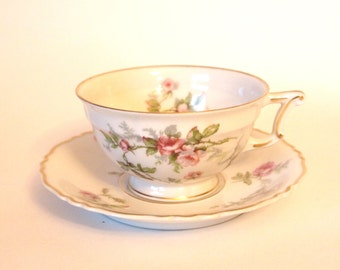 """Vintage Teacup Set Haviland Limoges China Tea Cup and Saucer Set with Pink Roses """"Sylvia"""" - France - Shabby Cottage Chic Circa 1940"""