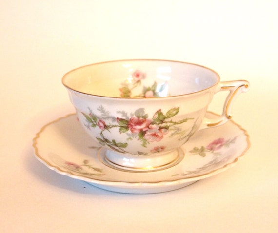 "Vintage Teacup Set Haviland Limoges China Tea Cup and Saucer Set with Pink Roses ""Sylvia"" - France - Shabby Cottage Chic Circa 1940"