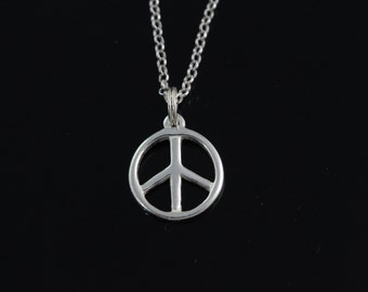 925 Sterling silver peace sign Necklace, Silver peace Jewelry, peace pendant necklace, sterling silver peace jewelry