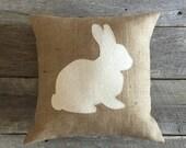 Burlap Rabbit Pillow,Spring Pillow, Cotton Muslin Pillow, Easter Pillow, Front Porch Pillow, Front Porch,Bunny Pillow,Burlap Pillow