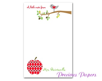Personalized Teacher note pads Personalized teacher gift note pads apple and bird teacher notepads