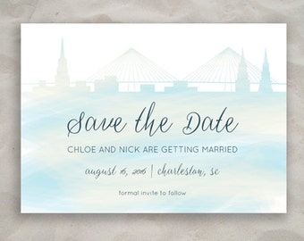 "Charleston ""Save the Date"" or ""Bachelorette"" Watercolor Announcement"
