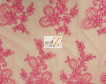 """Garden Floral Embroidery Lace Fabric - PINK - Sold By The Yard 52"""" Width"""