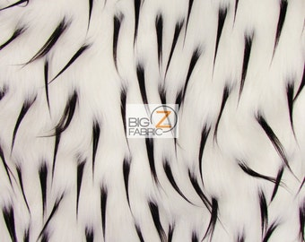 """Spike Shaggy Faux Fur Fabric - WHITE / BLACK SPIKES - Sold By The Yard 60"""" Width"""