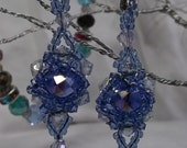 Exquisite Swarovski Crystals In Beautiful shades of Blue Halo design.  Beaded with Blue Miyuki Beads