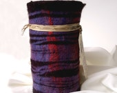 Felted Wool Flower Vase, Shibori Dyed, Purple Red Black Stripes w/ Glass Vase Interior Felted Vessel - Purple Striped Dream Vase / Wine Cozy