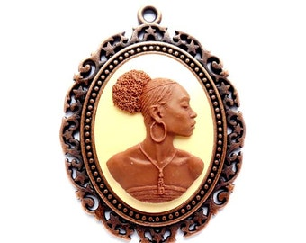1 African Woman Cameo Cabochon With Antique Copper Setting - 22-21-1