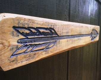 Long Indian Arrow V-Carved into a Piece of Florida Cypress - Directional