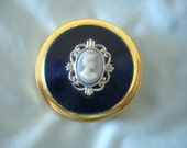 Vintage Cameo on Blue English Pill Box or Trinket Box by Margaret Rose