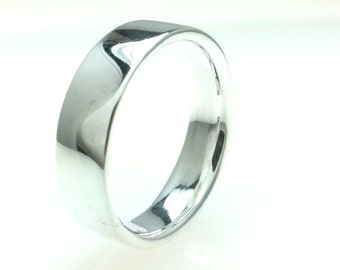Silver 980 Flat Wedding Band 6mm High Polish Comfort Line All Us Sizes