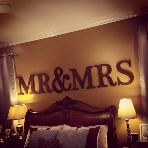 Wedding Bedroom Wall Decoration : Large mr mrs sign wedding decor wall by lettermania