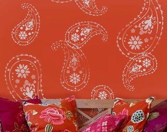 Almora Indian Paisley stencil, Painting stencils, paisley pattern Wall decor stencil, decorative stencils,