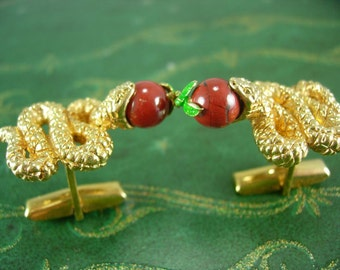 Rare SNAKE Cufflinks WIth APPLE Adam and Eve Vintage Gold  Serpent RED enamel fruit Shirt cuff links Accessory Snake charmer Swank