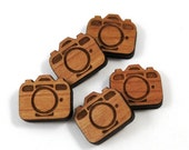 Laser Cut Supplies-8 Pieces.Camera Charms - Laser Cut Wood -Earring Supplies- Little Laser Lab Sustainable Wood Products