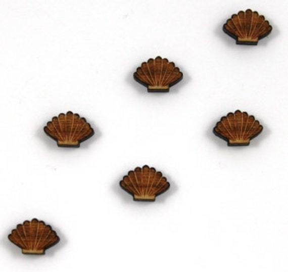 Laser Cut Supplies-8 Pieces, Clam Shell Charms- Cherry Wood Laser Cut Clam Shell-Earring Supplies-Little Laser Lab Sustainable Wood Products