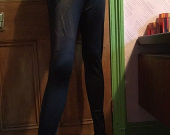 Vintage black stretch drainpipe cigarette disco pants Topshop 70's