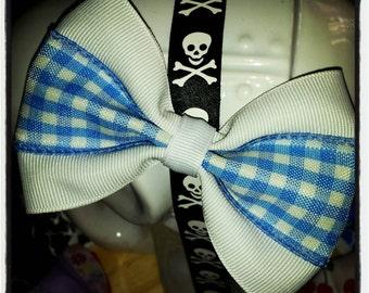 Light Blue and White Gingham Plaid Hair Bow