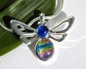 ON SALE - Bee Pendant - Fused Glass Jewelry - Rainbow and Blue Dichroic Glass Necklace - Insect Pendant